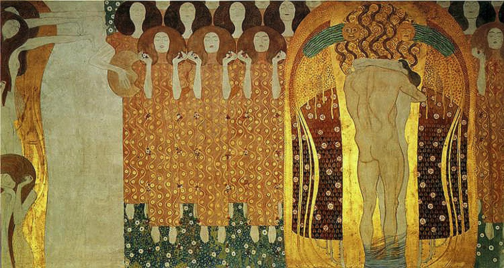gustav Klimt, Beethoven Frieze - Longing for Happiness Finds Repose in Poetry (right) 1902
